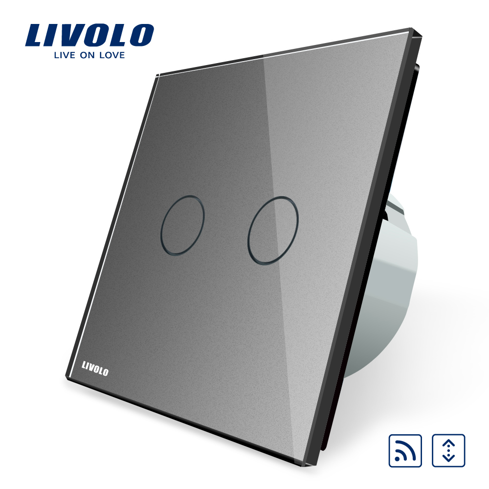 Livolo EU Standard Touch House Home Led Remote Curtains Switch VL-C702WR-15 Crystal Glass Panel,Mini Remote Is Not Included livolo eu standard remote switch crystal glass panel 220 250v wall light remote touch switch vl c701r 1 2 5