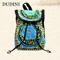 DUDINI Мода Юньнань Женщины Рюкзак Национальной Ветер Холщовый Мешок Китайский Стиль Ручной Вышивки Характеристики Цветочные Рюкзаки