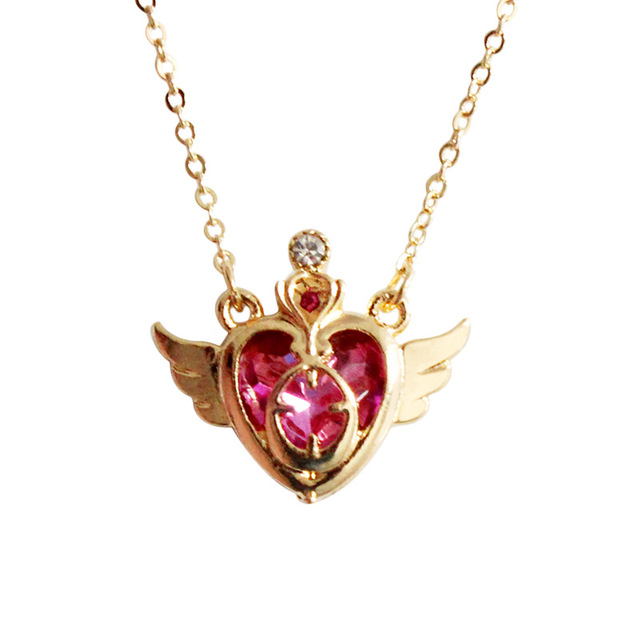 high quality fashion jewelry accessories sailor moon pink rhinestone crown wing heart card captor Necklace
