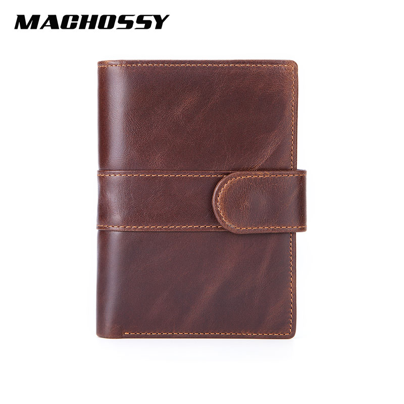 MACHOSSY Men Wallet Genuine Leather Short Wallets Multifunctional Cowhide Buckle Purse Coin Pocket Removable Photo Card Holder
