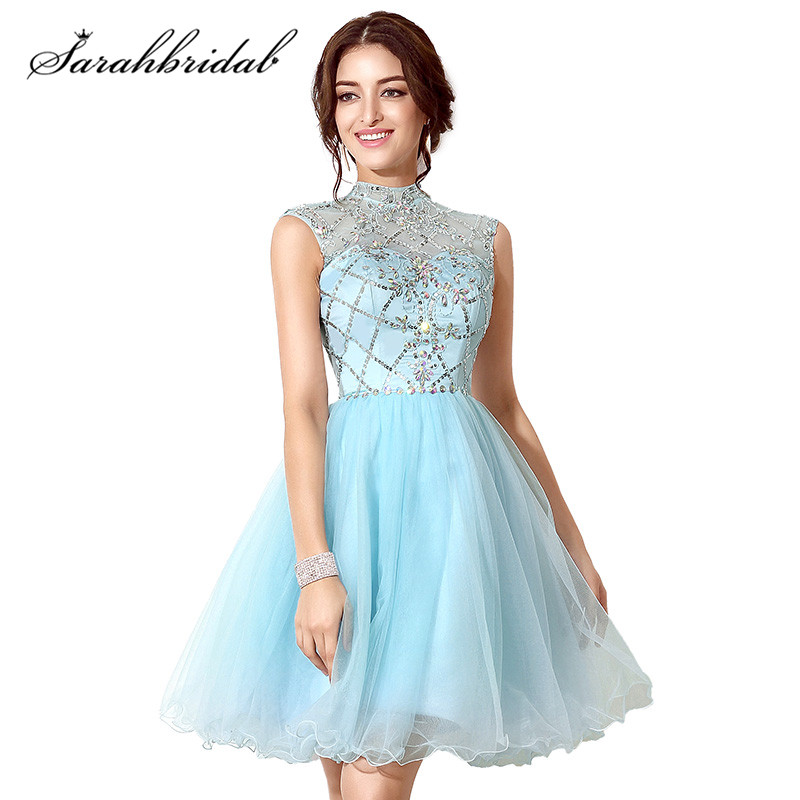 Youthful Sky Blue   Cocktail     Dresses   2019 Fall Winter Crystal Sequined Backless Tulle A-Line In Stock Homecoming Gowns SD199