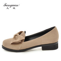 Fanyuan Loafers Women Casual Flat Shoes Butterfly knot Round Toe Soft Outsole Flat Boat Shoes Slip On Work Shoes Woman Plus30 46
