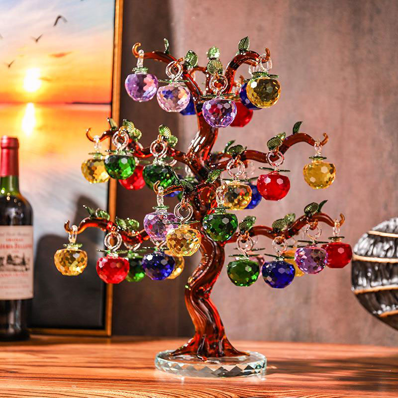 Crystal Glass Apple Tree With 6/10/12/16/18/36pcs Apples Fengshui Craft Home Decor Figurines Christmas Gifts Souvenirs Decor