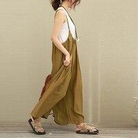 Fashion ZANZEA Women Overalls Wide Leg Pants Long Trousers Cotton Linen Jumpsuits Plus Size S 5XL