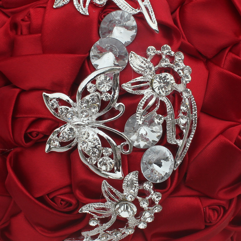 WifeLai-A 1pc Vin Röd Silke Rose Fjäril Diamanter Brosch Bröllop - Bröllopstillbehör - Foto 4