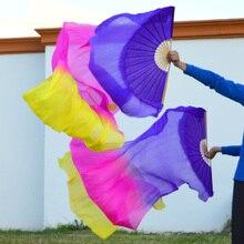 Высокая настоящие шелковые вуали 1 пара ручной работы для женщин качественный Шелковый Танец живота танцевальный веер фиолетовый розовый желтый 180*90 см