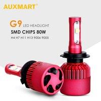 Auxmart G9 H7 Dipped Beam Car LED Headlight Kit SMD 80W 9600lm 6500K Fog Light 12v