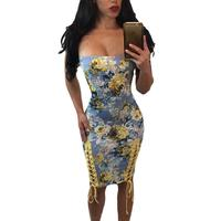 Printed sexy tattoo word collar cross lace Slim dress