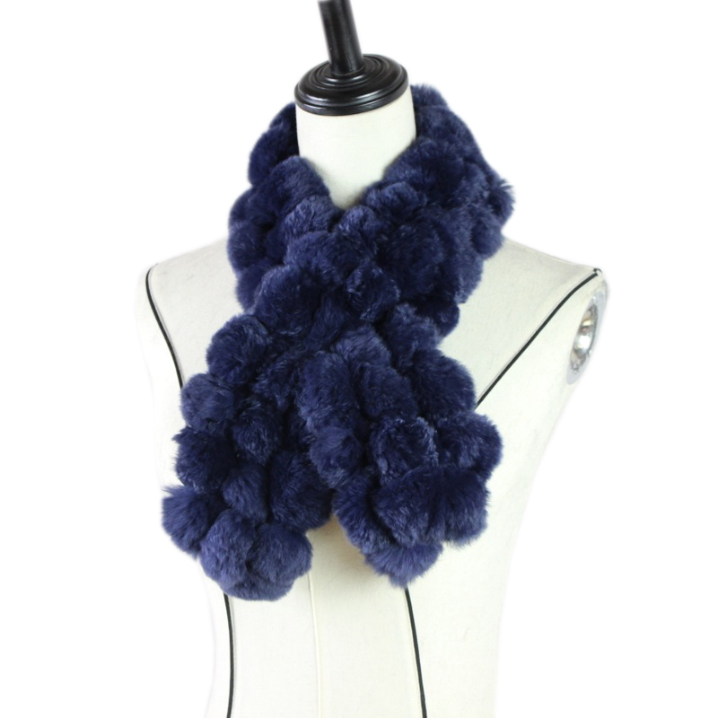 Harppihop Women's Real Fur Scarf Ball Scarf Fashion Luxury Big Rex Rabbit Fur Scarves Fashion Brand Thick Warm Winter M81903