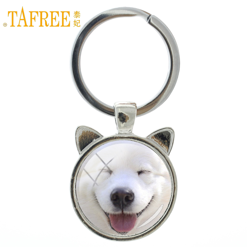 TAFREE New cute dog keychain lovely Samoyed puppy Chow Chow dog key chain ring holder an ...