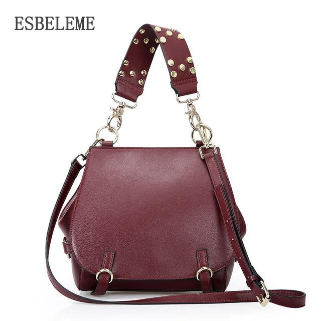 2018 brands women cow genuine leather handbags for female burgundy black red  ladies mini rivet messenger shoulder bags YI289 2415da99a739e