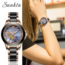 2019SUNKTA New Fashion Women Watches Ladies Top Brand Luxury Ceramic Quartz Watch Female Bracelet Clock Wife Gift Zegarek Damski