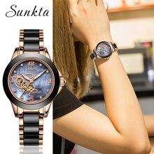 2019SUNKTA موضة جديدة للنساء ساعات السيدات العلامة التجارية الفاخرة ساعة كوارتز من السيراميك الإناث سوار ساعة زوجة هدية Zegarek Damski