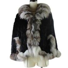 Зимнее пончо из натурального кроличьего меха для женщин, Вязаная Шаль из натурального кроличьего меха с воротником из натурального меха серебристой лисы, Пашмина, Лидер продаж