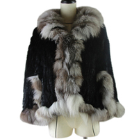 Winter Real Rabbit Fur Poncho For Women Knitted Natural Rabbit Fur Shawl With Genuine silver Fox Fur Collar Pashmina Hot sell