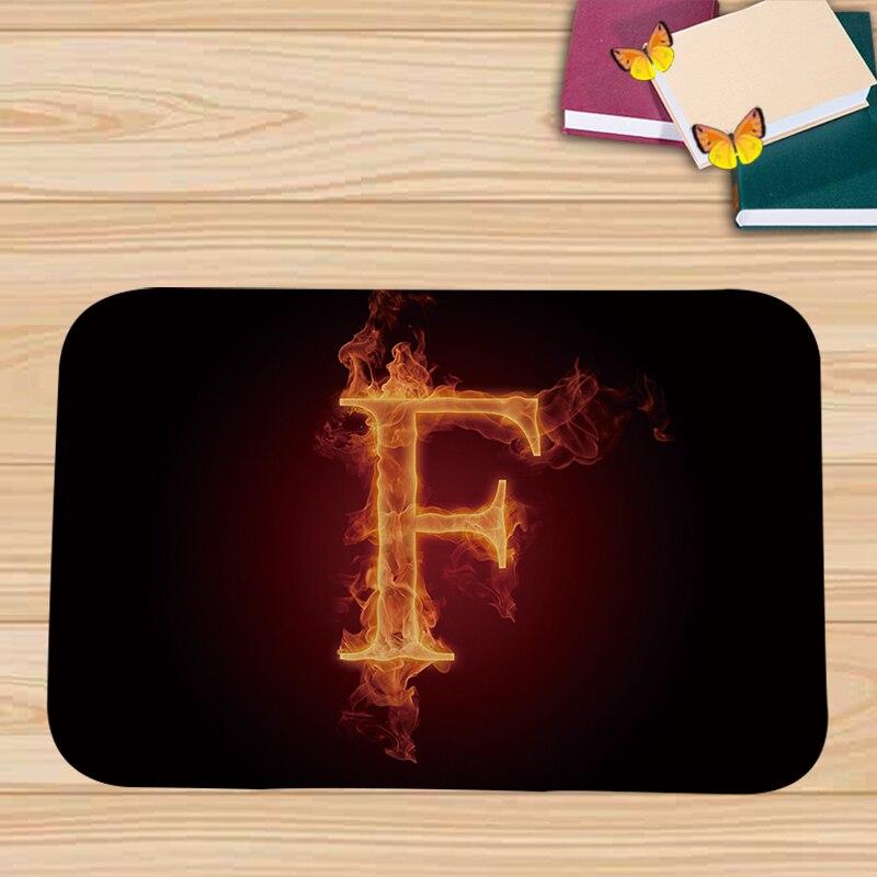 PEIYUAN Flamme Anglais Alphabet sur Feu Paillasson Tapis Tapis ...