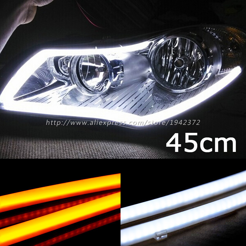 45cm White Yellow Amber Flexible Headlight With Turn Signal 9W Daytime Lamp Switchback Strip Angel Eye DRL Decorative Light sunkia 45cm white red yellow blue white yellow flexible headlight daytime lamp switchback strip angel eye drl decorative light