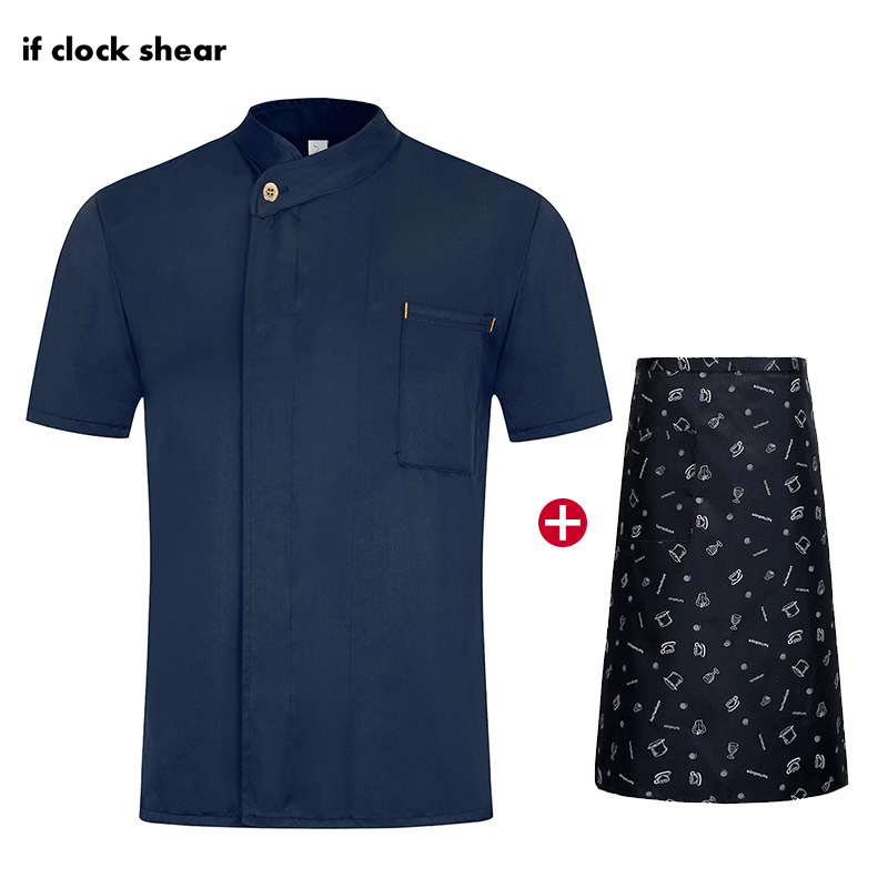 IF New Oblique Collar Restaurant Work Uniform Short Sleeve Single Breasted Kitchen Catering Casual Soft Chef Jacket M-4XL Summer