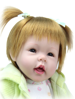 22 Inch Reborn Silicone Baby Doll Bebe Reborns Golden Hair Lifelike Alive Girl Doll Realistic Doll For Birthday Xmas Gifts