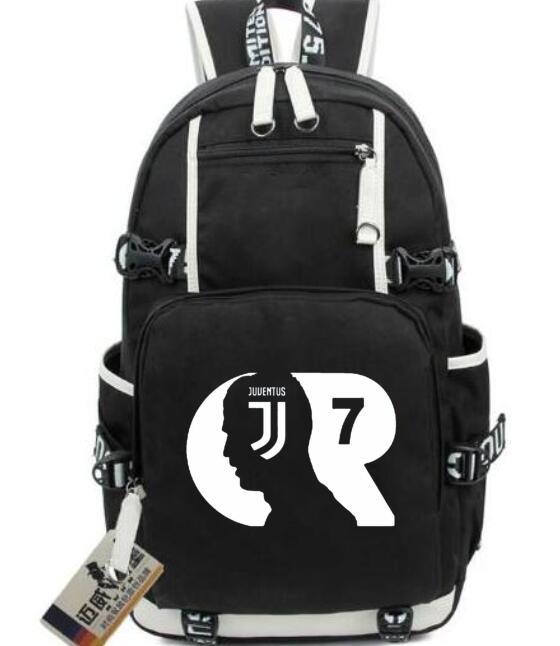 Juventus Football Star Real Cristiano Ronaldo CR7 Schoolbag Women\'S Canvas Backpack Teenage Girl Backpacks Mochila