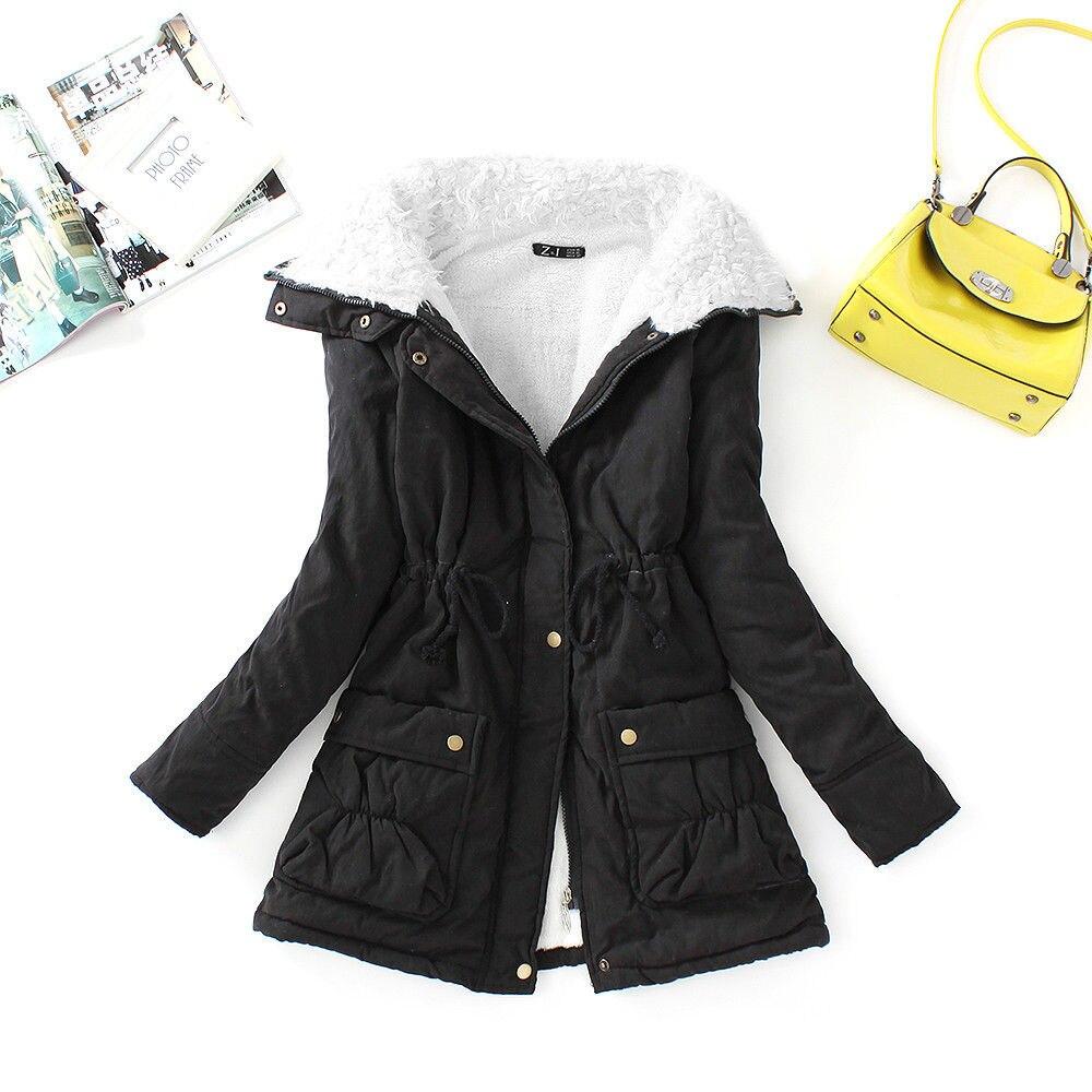 FTLZZ, новые зимние парки, женское тонкое хлопковое пальто, толстое пальто средней длины размера плюс, повседневное пальто, стеганая зимняя верхняя одежда - Цвет: black