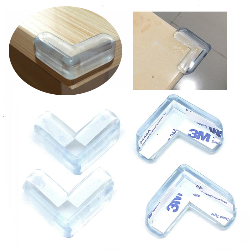 8Pcs Children Furnitures Edge Corners Guards Baby Silicone Safety L Shape Transparent Protector Cover