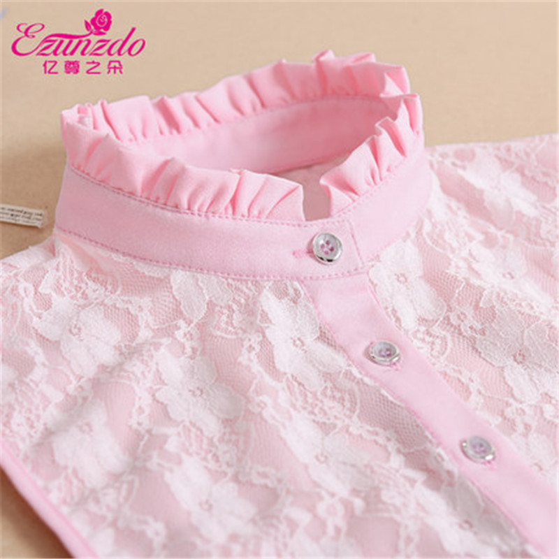 YIZUNZHIDUO Tie Women Shirts Fake Collars White Pink Blue Lace High Neck Fashion Korean False Collars Vintage Detachable Collars ...