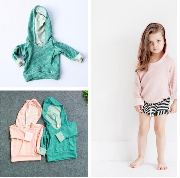 1-4yrs Девушки одежда 2015 Бобо выбирает осенью Ребенок толстовка о-образным вырезом девочка толстовки теплый ins дети толстовки с hat