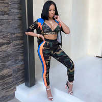 2018 Sexy Female 3 Three PIECE SET Striped Camouflage Matching Tracksuit Print Camo Clothes For Women Outfit Track Suits Autumn