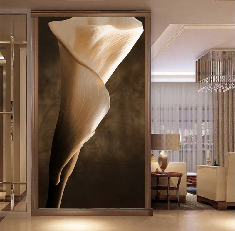 Customize Luxury 3d Tulip Entrance Hallway Wall Paper Metal Wallpaper Mural Meeting room Bedroom TV Sofa Background Home Decor free shipping marble texture parquet flooring 3d floor home decoration self adhesive mural baby room bedroom wallpaper mural