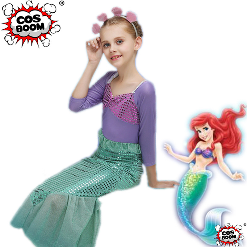 COSBOOM Kids Mermaid Princess Dress The Little Mermaid Ariel Cosplay Costume Girls Fancy Dress Halloween Costume
