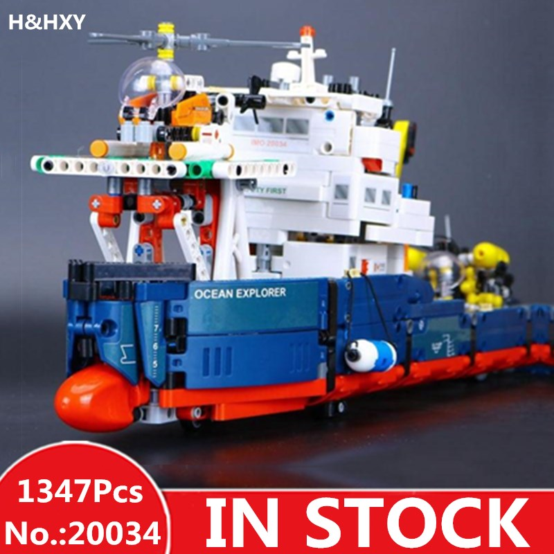 IN STOCK H&HXY 20034 1347pcs Genuine New Technic Series The Searching Ship Set Building Blocks Bricks lepin Toys 42064 skulls printed pullover round collar tank top for men