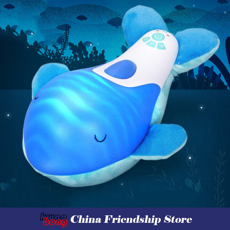 Bébé tissu en peluche jouets pour animaux poupée dauphin apaisant hypnotique son et lumière olphins bébé poupée endormie