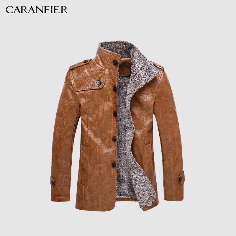 CARANFIER 8XL Männer Winter Leder Jacke Motorrad Männlichen Dicke Warme und Wasserdichte Mantel Fleece Winddicht Geschäftsleute Stil