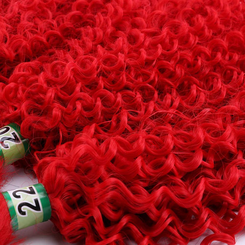 Farbe Rot Afro Verworrenes Lockiges Haar weben Synthetische Haar extensions 16-22 zoll Tissage faser haar bündel