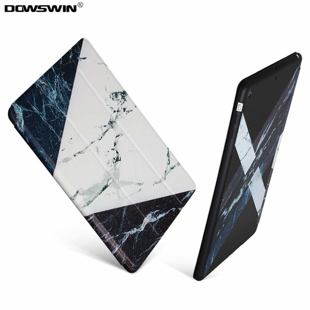 for iPad Air Case,Dowswin Smart Tri-fold front Marble Pattern Case TPU Back Soft Cover for iPad 5 Can Stand Cover for iPad Air 1 soft silicone tpu translucent back cover for ipad air 2 air2 trifold stand smart auto on off premium pu leather slim fit case
