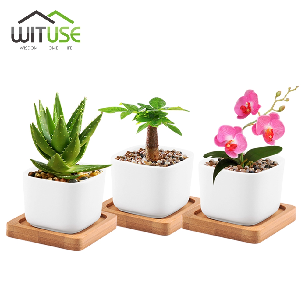 wituse white square garden flower plant pot mini ceramic. Black Bedroom Furniture Sets. Home Design Ideas