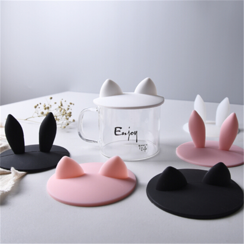 Silicone Rabbit Ear Cups Lids Cute Dustproof Reuseable Cup Covers Anti-dust Reusable Sealing  Anti Dust Coffee Cup Cover