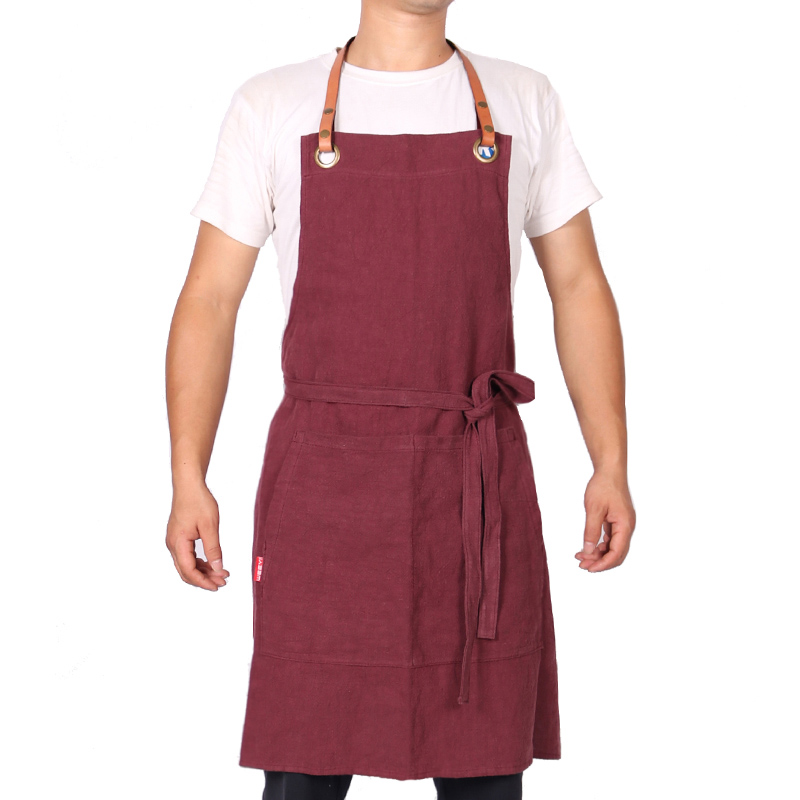 WEEYI-Fashion-Icon-Hygge-Red-Linen-Apron-For-Woman-Man-With-Leather-Strap-For-Bartender-Bakers