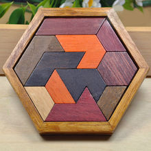 Free shipping Wooden Baby Hexagon educational puzzles/children's educational puzzles toys/puzzle паззл vintage puzzles