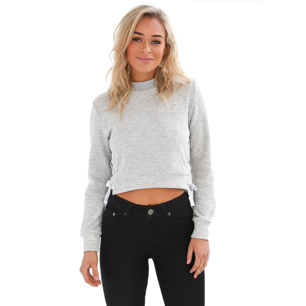 cbdfb1f3fec 2018Autumn Winter Women Sexy Slit Lacing Pullover Jumper Hoody Solid Long  Sleeve Crop Top Blouse Sweatshirt Ropa Mujer Plus Size-in Hoodies    Sweatshirts ...