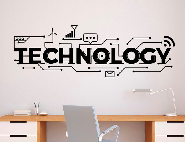 technology lettering wall decal vinyl sticker science education
