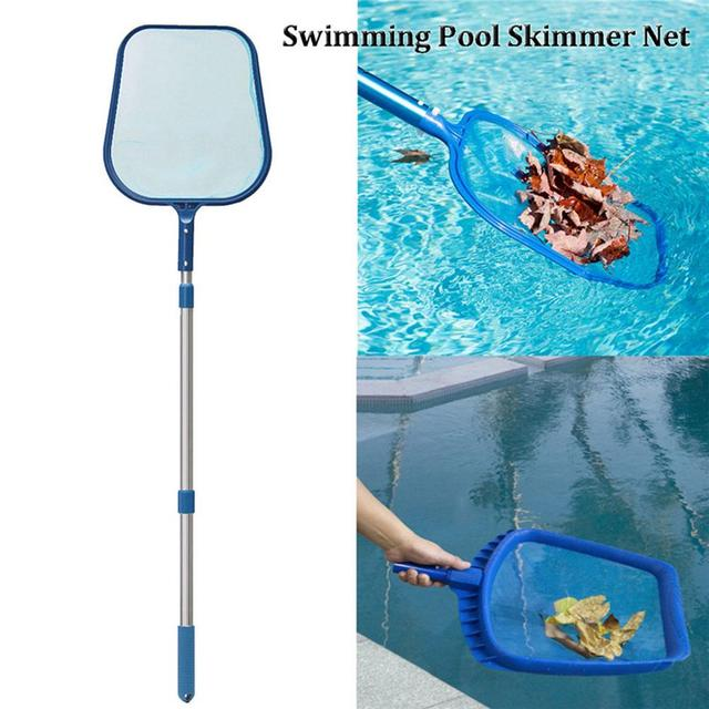 US $11 0 23% OFF|2018 New Hot Swimming Pool Net Leaf Rake Mesh Skimmer With  Telescopic Pole Pools And Spas Lightweight Easy to use Cleaning Tool-in