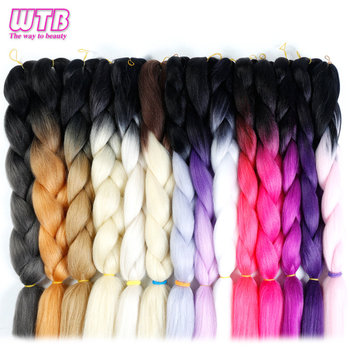 24'' Jumbo Braids Hair Synthetic Kanekalon Ombre Braiding Hair Extension 1piece/lot crochet Expression Fiber WTB