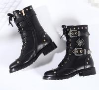 Cool Women Blakc Leather Buckles Boots Studs Cover Ladies Flat Motorcycle Boots Punk Style Lace Up Riding Boots black flat boots