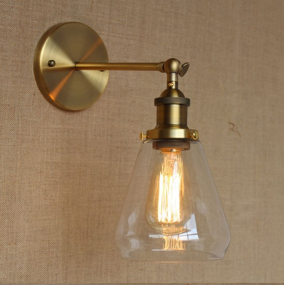 купить Golden Vintage Wall Lamp Lights With Glass Lampshade In Loft Industrial Style Arandela Lampara Pared Edison Wall Sconce по цене 3211.52 рублей