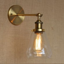 Golden Vintage Wall Lamp Lights With Glass Lampshade In Loft Industrial Style Arandela Lampara Pared Edison Wall Sconce golden retro vintage wall lamp with 2 lights for home adjustable arm industrial loft edison wall sconce arandela wandlamp