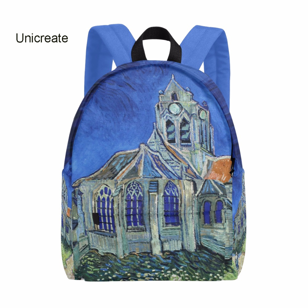 Unicreate Backpack-The Church at Auvers by Van Gogh Women Zipper Backpack School Backpack for Children Rucksack Canvas 14Inch zipit рюкзак zipper backpack