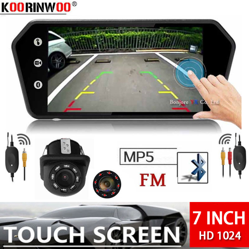 Koorinwoo Wireless Adopter 7 inch Car Reversing Monitor Digital Touch Screen with MP5 bluetooth USB TF