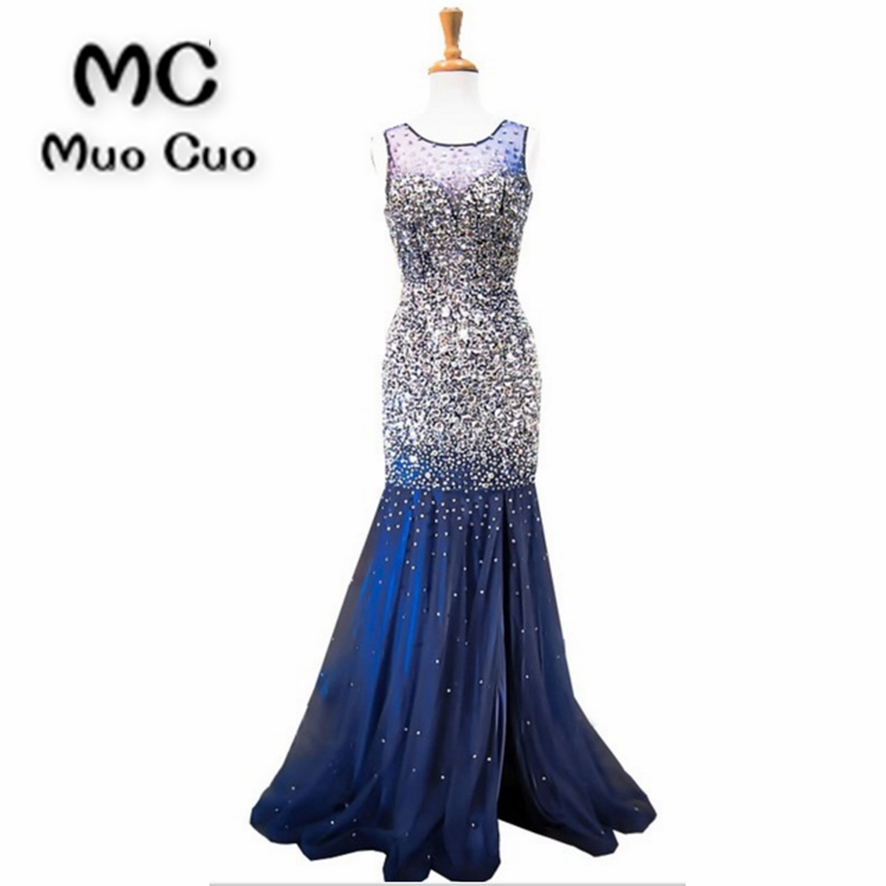 2018 New See Though Prom Dresses Long With Crystals Beaded Vestidos De Fiesta Dress For Graduation Mermaid Formal Evening Dress